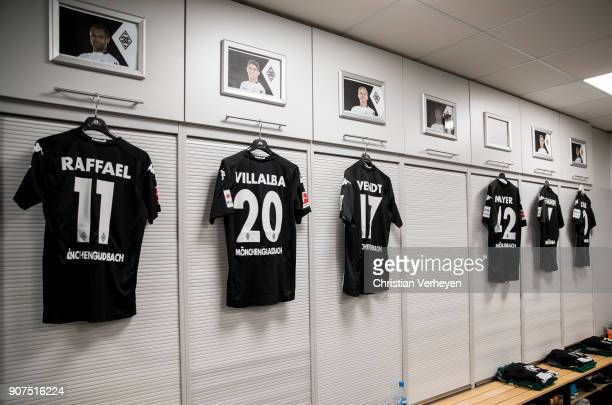 A general view of the changing room Borussia Moenchengladbach prior the Bundesliga match between Borussia Moenchengladbach and FC Augsburg at...