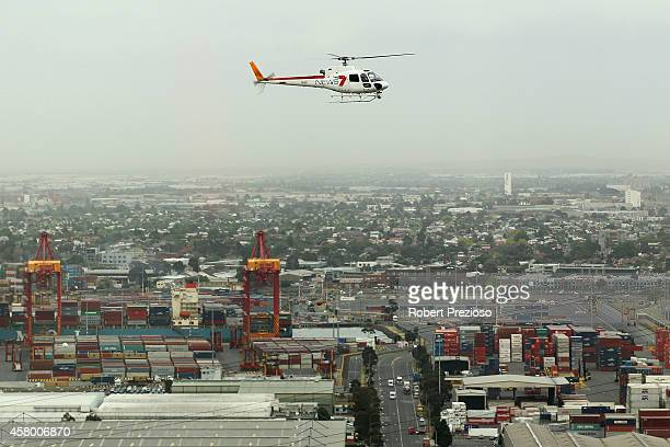 A general view of the channel seven helicopter prior to Channel seven presenter Edwina Bartholomew holding the Emirates Melbourne Cup in the...