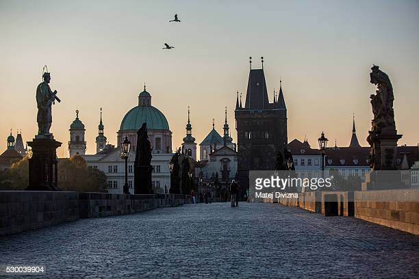 A general view of the Charles Bridge during a sunrise on May 10 2016 in Prague Czech Republic The Charles Bridge construction began in 1357 by...