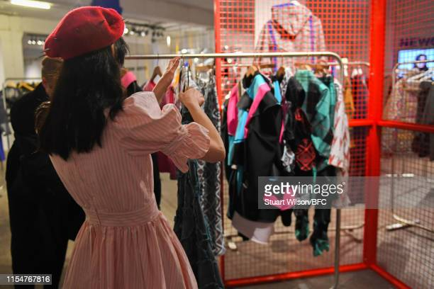 A general view of the Charles Jeffrey Loverboy NEWGEN PopUp Showroom during London Fashion Week Men's June 2019 at the BFC Designer Showrooms on June...