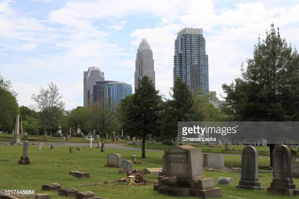 General view of the Charlotte city skyline from Elmwood Cemetery during the coronavirus pandemic on April 07, 2020 in Charlotte, North Carolina. The...