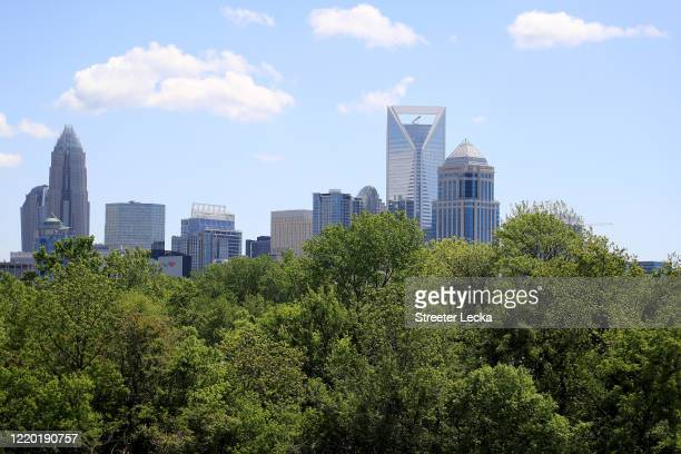 General view of the Charlotte skyline during the coronavirus pandemic on April 21, 2020 in Charlotte, North Carolina. The city of Charlotte issued a...