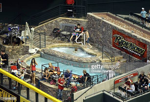 "General view of the Chase Field ""Ride Now"" pool during the Major League Baseball game between the Washington Nationals and the Arizona Diamondbacks..."