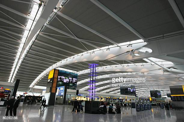 A general view of the checkin area of the new Terminal 5 at Heathrow Airport prior to its official opening on March 14 2008 in London England...