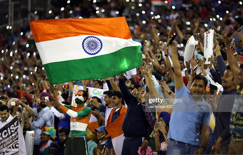 General view of the cheering crowd during the ICC World Twenty20 India 2016 Super 10s Group 2 match between India and Australia at IS Bindra Stadium..
