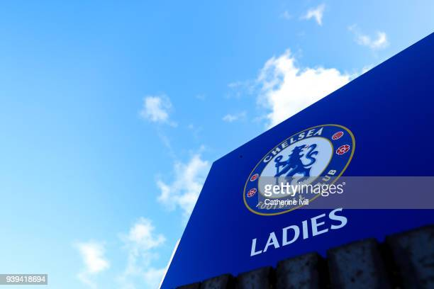 General view of the Chelsea club badge before the UEFA Womens Champions League QuarterFinal Second Leg between Chelsea Ladies and Montpellier at The...