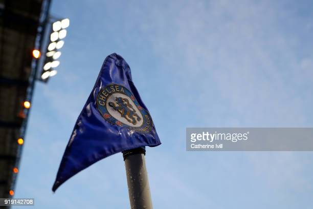General view of the Chelsea corner flag during The Emirates FA Cup Fifth Round match between Chelsea and Hull City at Stamford Bridge on February 16...