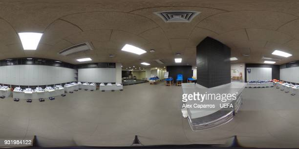 A 360 general view of the Chelsea FC dressing room ahead of the UEFA Champions League Round of 16 Second Leg match between FC Barcelona and Chelsea...