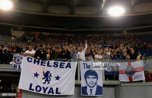 A general view of the Chelsea FC fans before the UEFA Champions League group C match between AS Roma and Chelsea FC at Stadio Olimpico on October 31...
