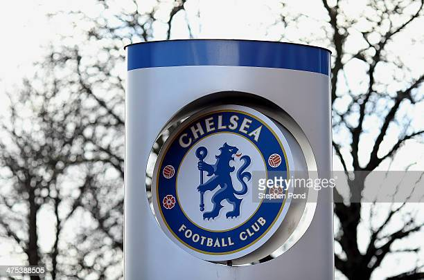 A general view of the Chelsea Football Club badge at Stamford Bridge Stadium venue for the Red Sox Master Class on February 27 2014 in London England