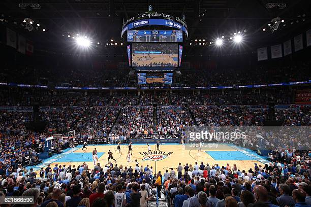 General view of the Chesapeake Energy Arena during the game between Phoenix Suns and Oklahoma City Thunder on October 28, 2016 at the Chesapeake...