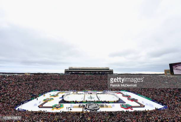General view of the Chicago Blackhawks and the Boston Bruins line up on the blue line during the national anthem before the start of the 2019...