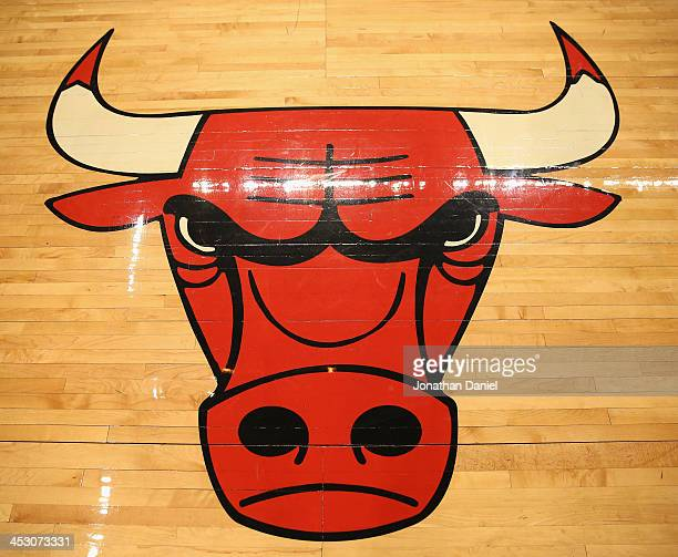 A general view of the Chicago Bulls logo on the floor before a game against the Utah Jazz at the United Center on November 8 2013 in Chicago Illinois...