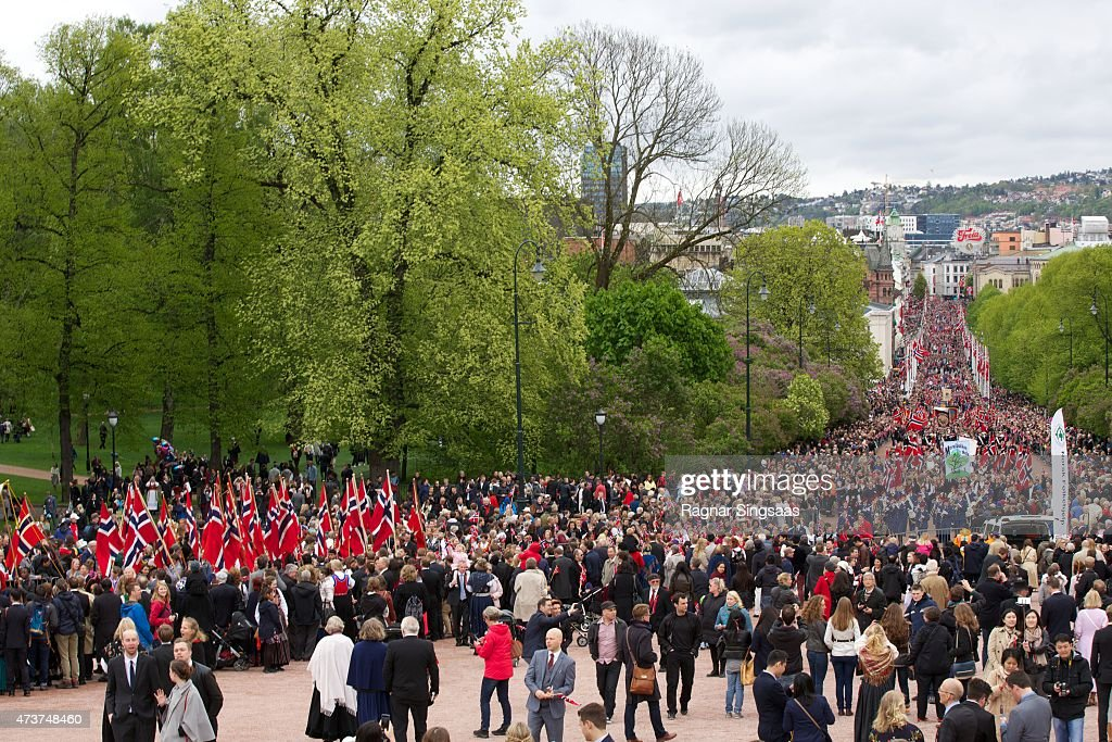 A general view of the Children's Parade during the Norwegian National Day on May 17, 2015 in Oslo, Norway.