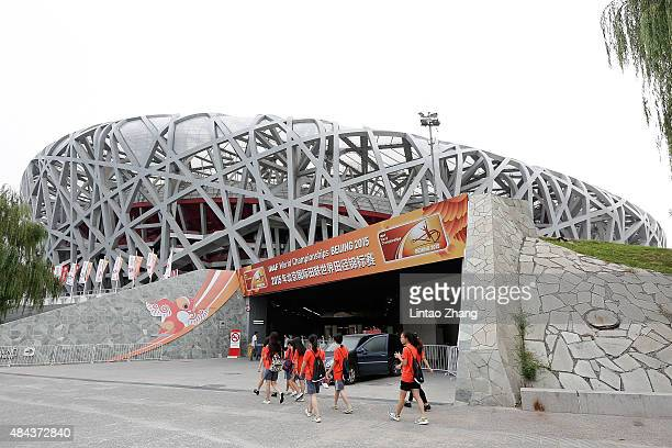 General view of the China National Stadium also known as the Bird's Nest on August 18 2015 in Beijing China The 15th IAAF World Championships will be...