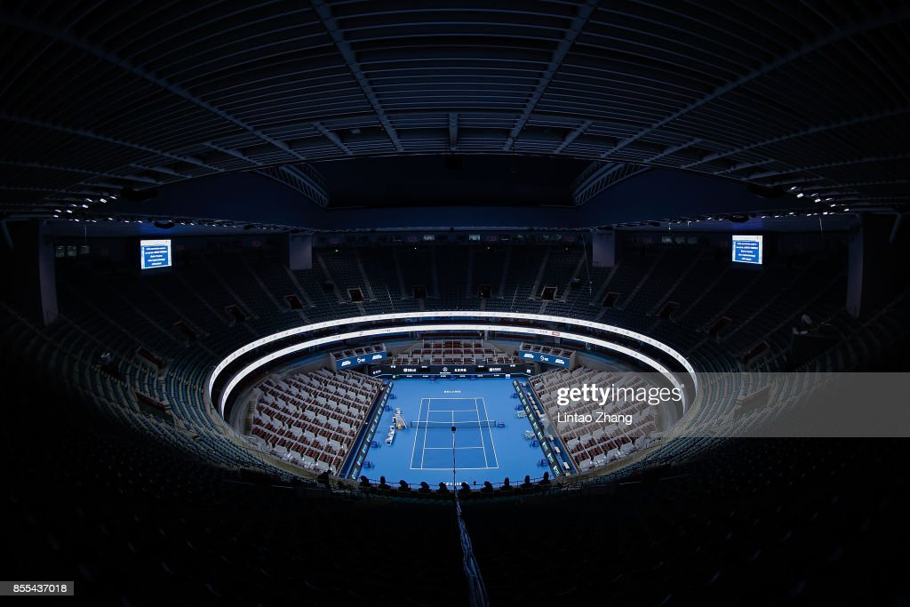 A general view of the China National Tennis Centre during the preview day of the 2017 China Open at the on September 29, 2017 in Beijing, China.