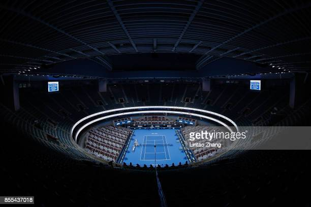 General view of the China National Tennis Centre during the preview day of the 2017 China Open at the on September 29, 2017 in Beijing, China.