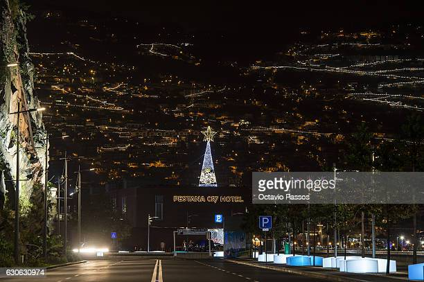 General view of the Christmas city lights whit the Pestana CR7 Hotel, property of the Portuguese football player Cristiano Ronaldo with society of...