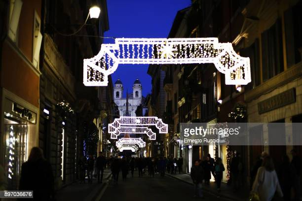 General view of the Christmas light decorations are seen at Via Condotti on December 21 2017 in Rome Italy