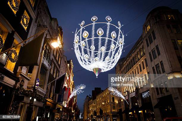 A general view of the Christmas lights and displays on Bond Street in the lead up to Christmas on November 16 2016 in London England