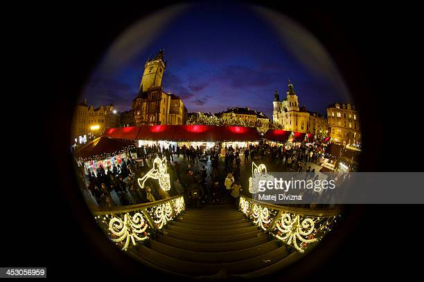 General view of the Christmas market at the Old Town Square on December 2 2013 in Prague Czech Republic Christmas markets traditionally selling...