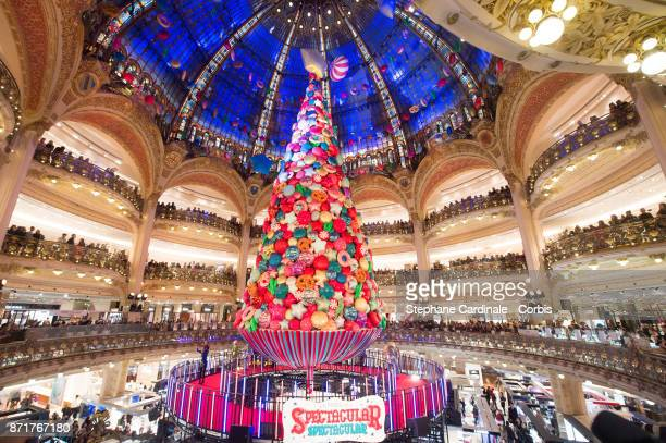 General view of the Christmas Tree during the Galeries Lafayette Christmas Decorations Inauguration at Galeries Lafayette Haussmann on November 8...