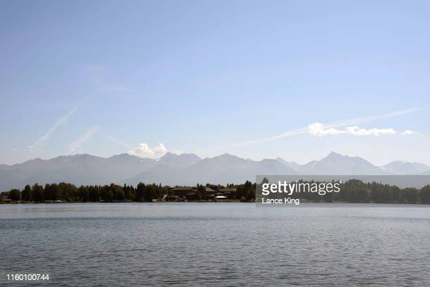 A general view of the Chugach Mountains as seen from the Lake Hood Seaplane Base on July 4 2019 in Anchorage Alaska Alaska is bracing for record warm...