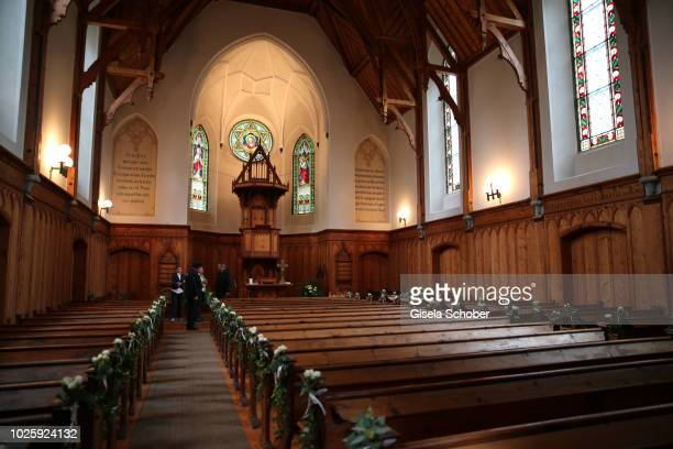 A general view of the church ahead of the wedding of Prince Konstantin of Bavaria and Princess Deniz of Bavaria born Kaya at the french church...