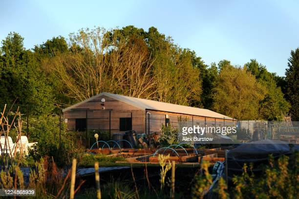 A general view of the Church Crookham and Fleet Men's Shed seen across allotments on May 05 2020 in Church Crookham England Following the COVID19...
