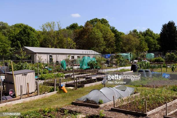 General view of the Church Crookham and Fleet Men's Shed seen across allotments on May 06, 2020 in Church Crookham, England. Following the COVID-19...