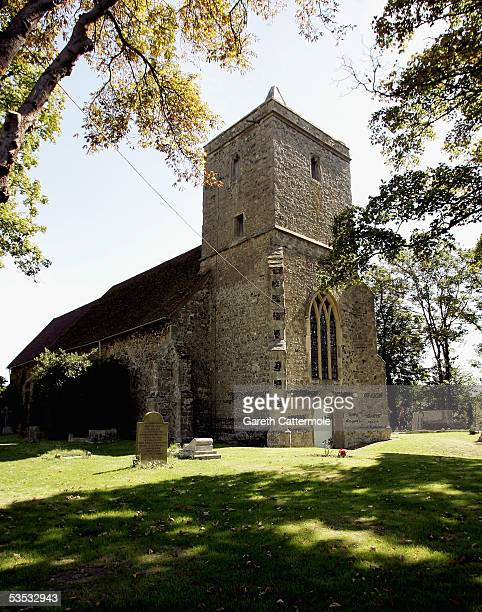A general view of the church for the wedding of musician Jools Holland and Christabel McEwen at St James's Church Cooling on August 30 2005 in...