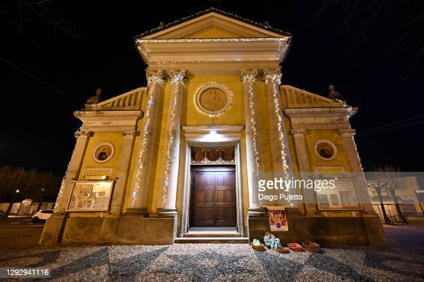General view of the church of Candiolo on December 24, 2020 in Turin, Italy. Due to the coronavirus pandemic Christmas religious services have been...