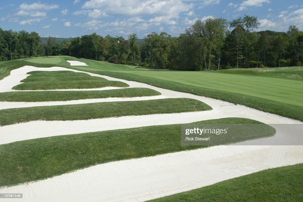 General view of the church pew bunkering on the 15th hole at Oakmont Country Club, site of the 2007 US Open on September 26, 2006 in Oakmont, Pensylvania.