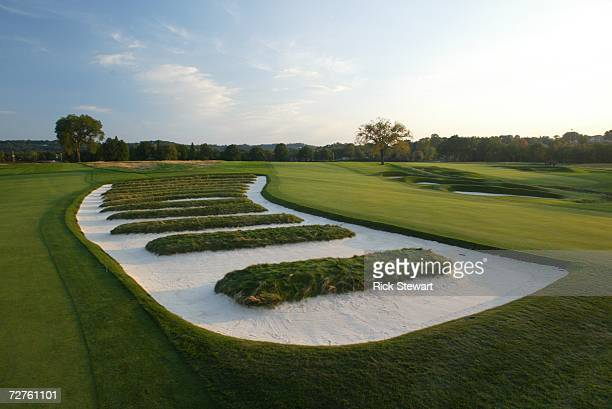 General view of the church pew bunkering on the third hole at Oakmont Country Club, site of the 2007 US Open on September 26, 2006 in Oakmont,...