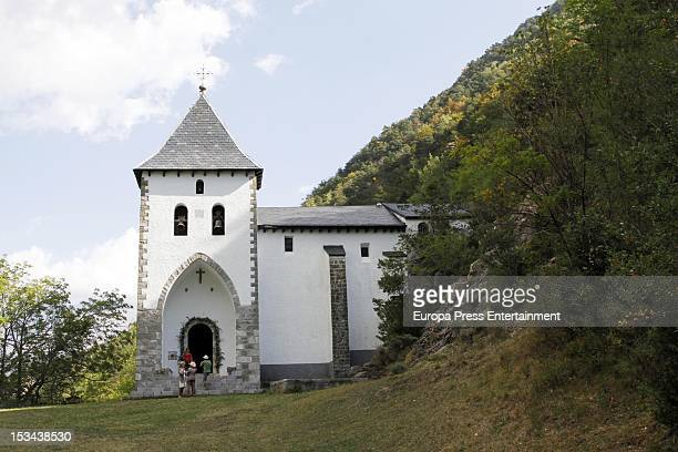 General view of the church where Juan Pablo Shuk and Ana De La Lastra get married on September 22 2012 in Biescas Spain