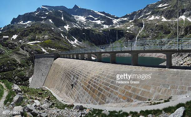 General View Of The Cingino Dam With Its Famous Wild Ibex Goats