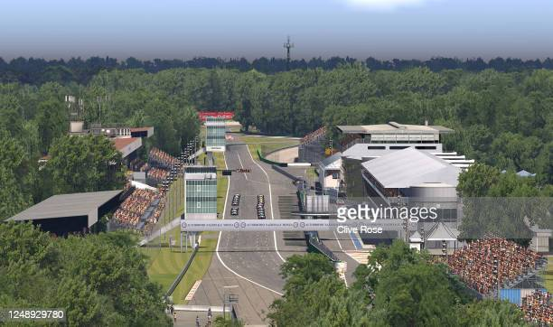 General view of the circuit as competitors line up on the grid for start of the W Series Esport League Round 1 at Autodromo di Monza on June 11, 2020...