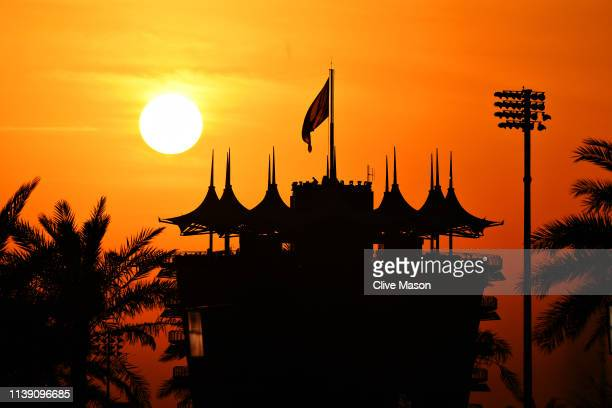 General view of the circuit as the sun goes down during practice for the F1 Grand Prix of Bahrain at Bahrain International Circuit on March 29, 2019...