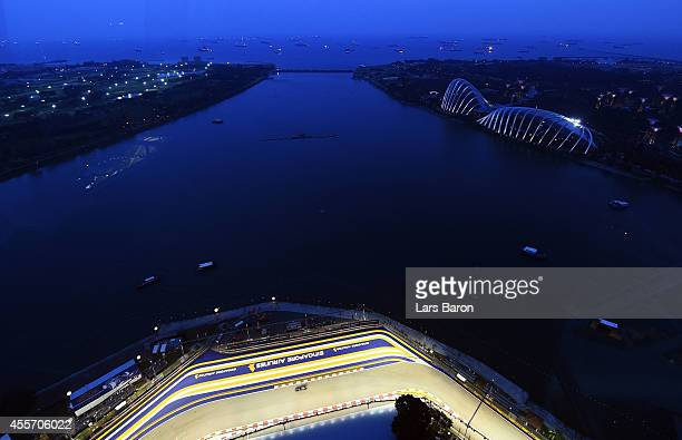 General view of the circuit during practice ahead of the Singapore Formula One Grand Prix at Marina Bay Street Circuit on September 19, 2014 in...