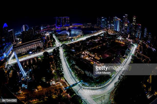 A general view of the circuit during practice for the Formula One Grand Prix of Singapore at Marina Bay Street Circuit on September 15 2017 in...
