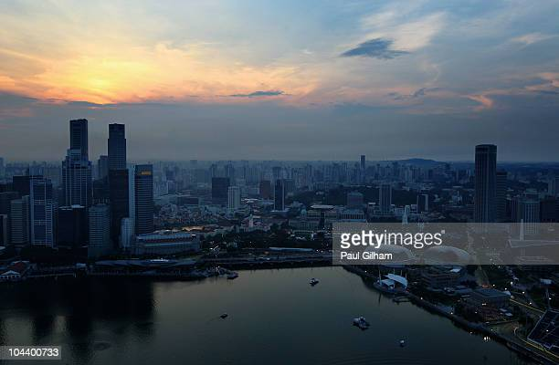 General view of the circuit during practice for the Singapore Formula One Grand Prix at the Marina Bay Street Circuit on September 24 2010 in...