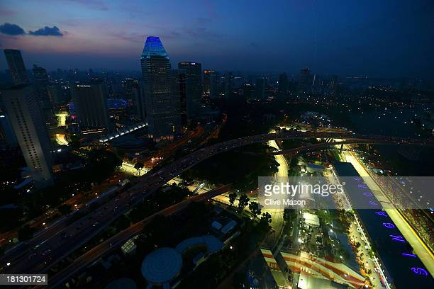 A general view of the circuit during practice for the Singapore Formula One Grand Prix at Marina Bay Street Circuit on September 20 2013 in Singapore...