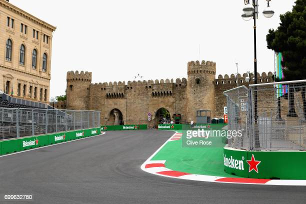 A general view of the circuit during previews ahead of the European Formula One Grand Prix at Baku City Circuit on June 22 2017 in Baku Azerbaijan