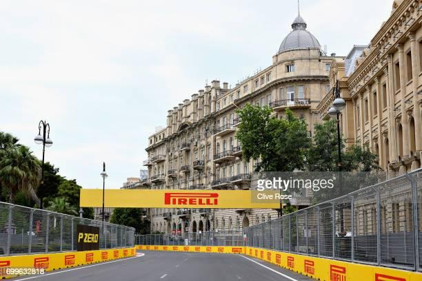 A general view of the circuit during previews ahead of the European Formula One Grand Prix at Baku City Circuit on June 22 2017 in Baku Azerbaijan