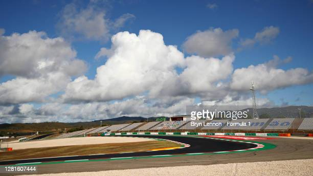 General view of the circuit during previews ahead of the F1 Grand Prix of Portugal at Autodromo Internacional do Algarve on October 22, 2020 in...