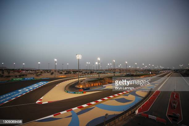General view of the circuit during previews ahead of the F1 Grand Prix of Bahrain at Bahrain International Circuit on March 25, 2021 in Bahrain,...