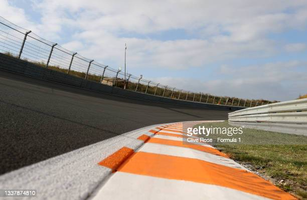General view of the circuit during previews ahead of the F1 Grand Prix of The Netherlands at Circuit Zandvoort on September 02, 2021 in Zandvoort,...