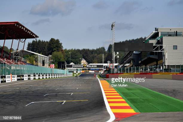 General view of the circuit during previews ahead of the Formula One Grand Prix of Belgium at Circuit de Spa-Francorchamps on August 23, 2018 in Spa,...