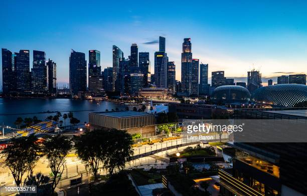 General view of the circuit during previews ahead of the Formula One Grand Prix of Singapore at Marina Bay Street Circuit on September 12, 2018 in...