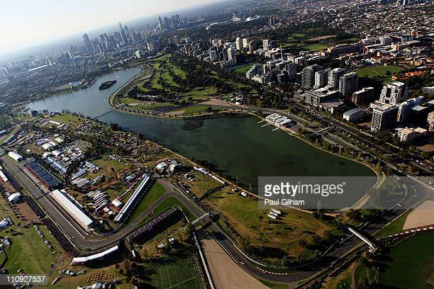 General view of the circuit during the Australian Formula One Grand Prix at the Albert Park Circuit on March 27 2011 in Melbourne Australia